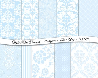 Light Blue Damask digital scrapbooking paper pack -10 printable jpeg papers, 12x12 , 300 dpi - instant download