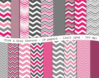 Pink and Gray Chevron digital scrapbooking paper pack - 18 printable jpeg papers, 12x12, 300 dpi - instant download
