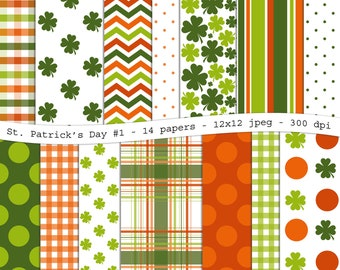 St. Patrick's Day No.1  digital scrapbooking paper pack - 14 jpeg printable orange green papers, 12x12, 300 dpi - instant download