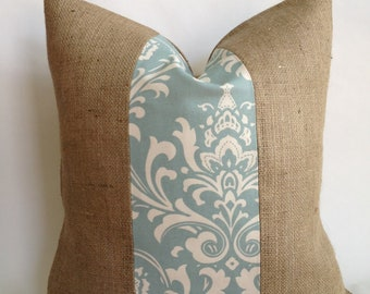 Village Blue Damask and Burlap Pillow Cover
