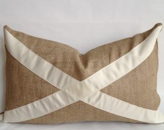 """Cream """"X"""" & Burlap Pillow Cover"""