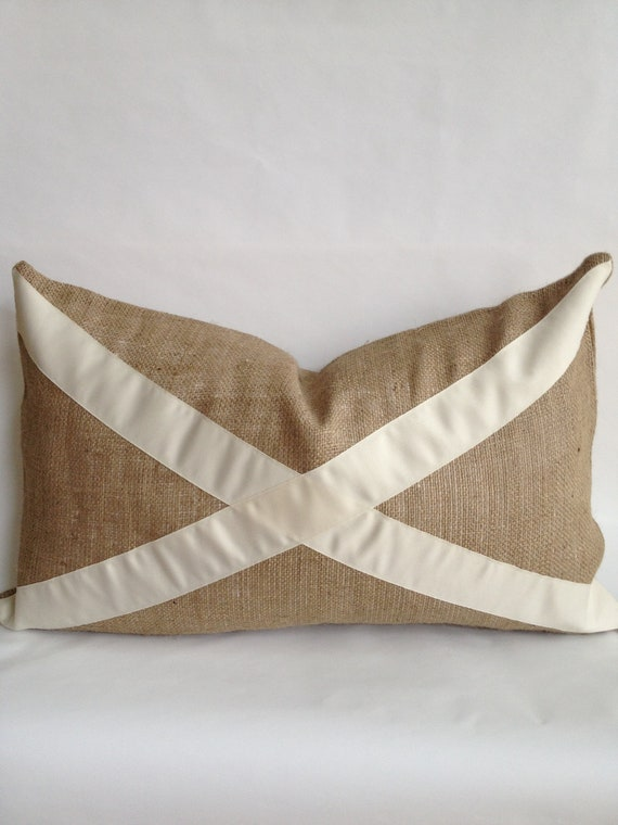 "Cream ""X"" & Burlap Pillow Cover"
