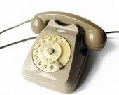 Siemens Shabby Chic Brown Grey Vintage Italian Rotary Telephone - Retro Rotary Phone