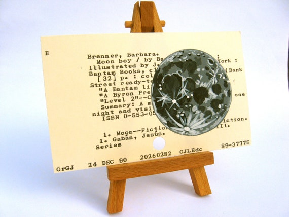 Print of Moon Painted on Library Card - dewey decimal astronomy