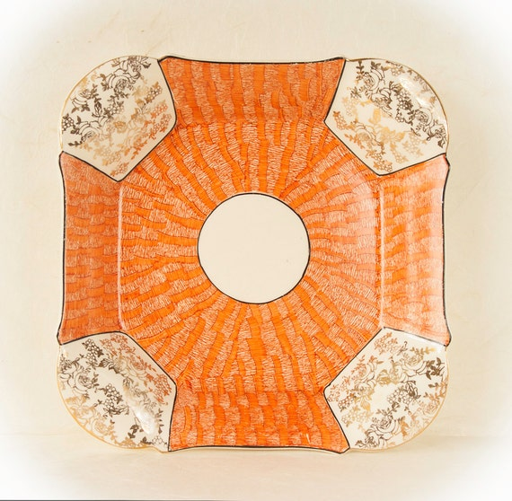 Vintage HK Tunstall Square Plate, Gold Orange Rose Pattern, Hollinshed Kirkham