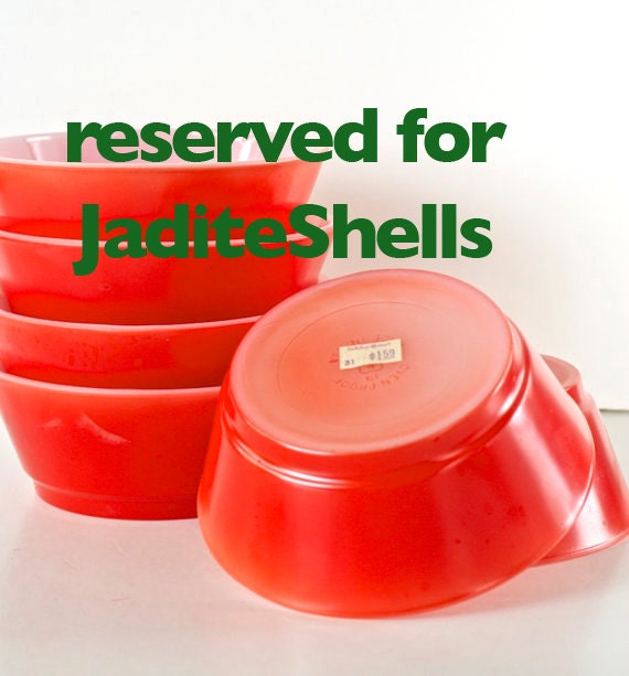 Reserved for JadeiteShells Vintage Bowl Anchor Hocking Pyrex Style Red Bowls Unused Set of Six