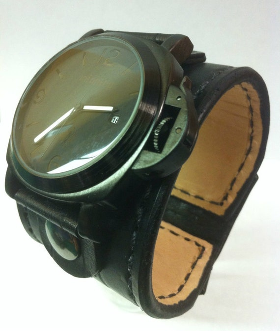 wide leather cuff band by kgb leather