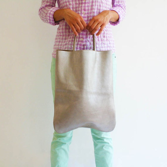 Leather Tote Bag: Silver Bag, Shopper Tote Bag