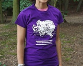Ladies  Purple Frank Art  Elephant T-shirt by Frank Louis Allen (Screen Printed)