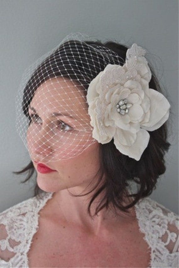 Couture birdcage veil- Ivory
