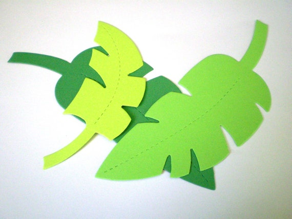 Large medium green die cut jungle leaves for Jungle leaf templates to cut out