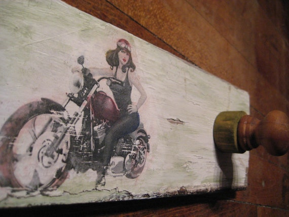 Vintage Motorcycle Girl Coat Rack