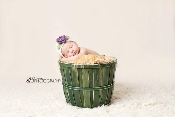 Baby Girl Hat, Crochet Flower Hat, Oatmeal and Purple