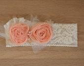 Peach Rosette Headband