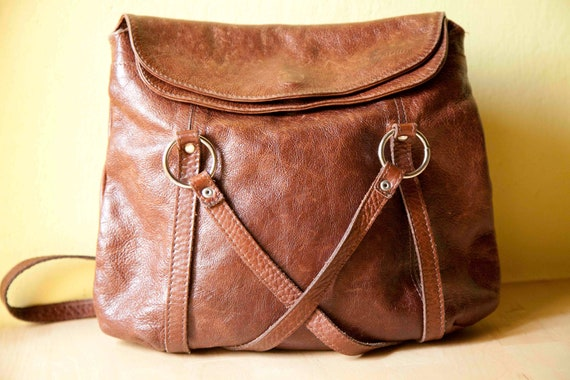 80s backpack/bag brown italian leather. Made in Italy from Tuscany