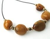 Mookaite Jasper Sliding Stone Adjustable Necklace (gold)