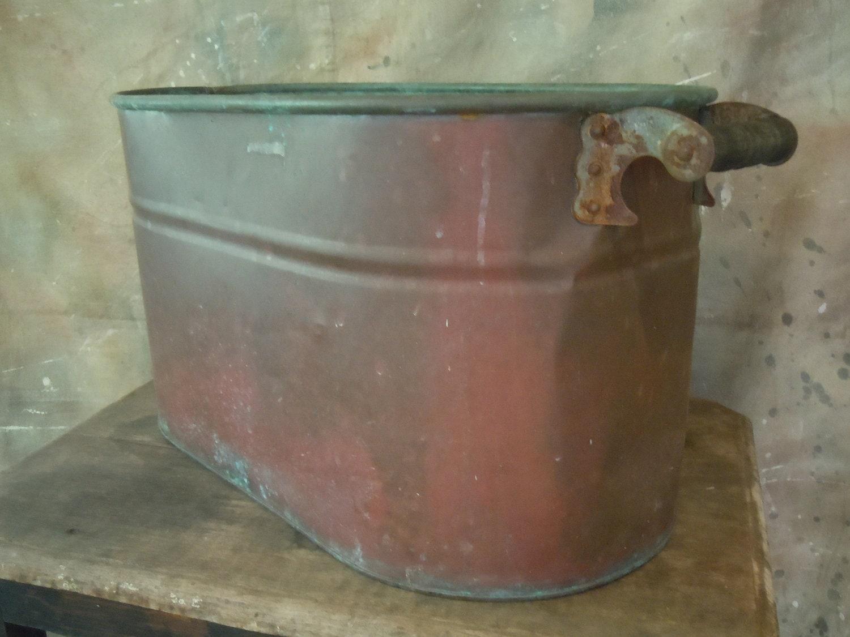 Antique Oval Copper Boiler Wash Tub Firewood Tub Circa 1900