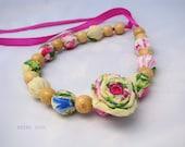 fabric necklace, fiber Necklace, fabric Jewelry, necklace textile, fabric beads