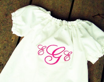 White Dress with monogram, Monogrammed girls dress, baby sister matching dress, easter outfit, solid white peasant dress, baby shower gift