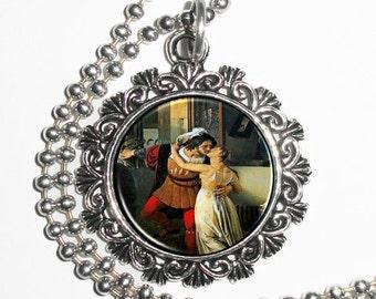 The Last Kiss of Romeo and Juliet Art Pendant, Love Resin Pendant, Francesco Hayez Art, Photo Charm Necklace