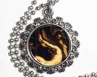 Daedalus and Icarus  Resin Pendant, Man with Wings, Charles Lebrun Art, Photo Charm Necklace