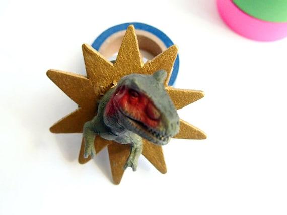 Metallic Gold T-Rex Toyidermy Brooch Pin
