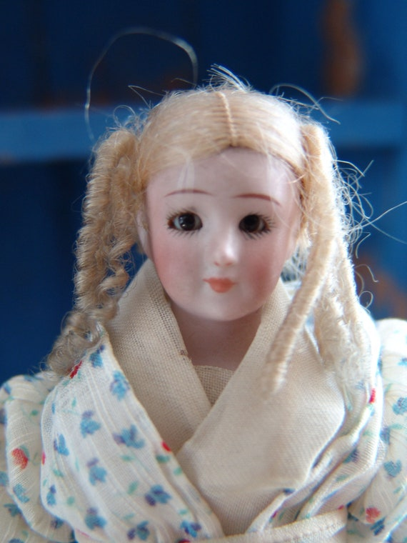 Antique 8 inches tall Victorian Era late 1890 Simon & Halbig Little Women Porcelain Doll, with Glass Eyes, Original Outfit