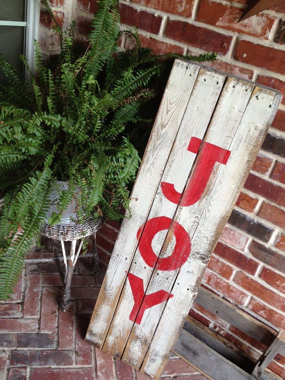 Items similar to JOY reclaimed wood holiday sign on Etsy