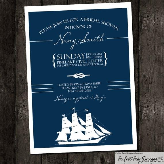 Bridal Shower Invitation Nautical ThemeNavy By