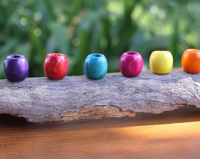 8 Coloured Wooden Dreadlock Beads (8mm Hole) NEW - Mixed Red Blue Green Purple Orange Yellow Brown Pink