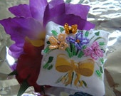 Dollhouse Miniature Pillow-Butterfly Kisses Bouquet with Yellow Bow Mini Pillow