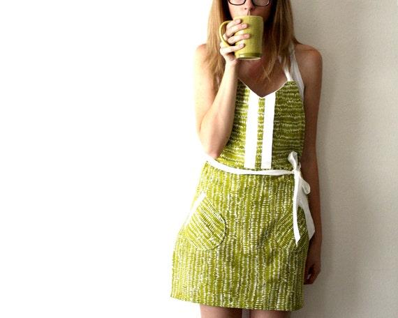 Green Spoon Apron - moss olive mod pattern retro adjustable cotton hostess apron with ruffles, pockets