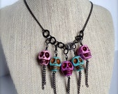 Pastel Turquoise and Lavender Howlite Skulls & Gunmetal Chain 17 inch Necklace