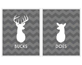 Does & Bucks Antler Prints, Chevron Deer, Deer Print, Deer Art, Chevron Print, Antler Print - 8x10