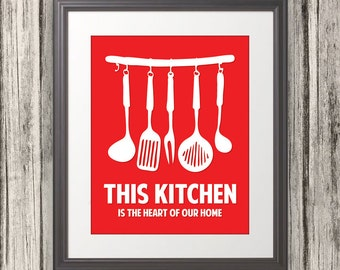 This Kitchen Is The Heart Of Our Home, Kitchen Print, Kitchen Art, Kitchen Poster, Custom Color - 11x14 Print