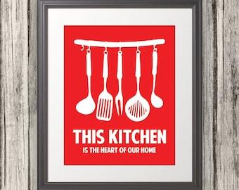 This Kitchen Is The Heart Of Our Home, Kitchen Print, Kitchen Art, Kitchen