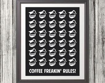 Coffee, Coffee Print, Coffee Print, Coffee Poster, Mid Century Art, Retro, Coffee Freakin' Rules - 8x10