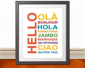 Hello Bonjour Hola Wall Art, Kids Wall Art, Nursery Art, Home Decor, Home Wall Art, Apartment Art, Apartment Print, Custom Color - 11x14