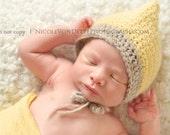 SALE Baby Boy Pixie, Knit crochet Bonnet, hat, beanie, newborn photography prop, boy girl hat, light yellow, and oatmeal/grey, infant