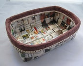 Paper basket  handwoven from upcycled paper