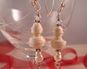 Faux pearl earrings made with beads crafted from Italianhandmade paper