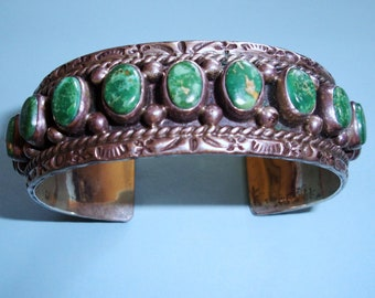 Vintage Handcrafted Navajo Native American Sterling Silver and Green Turquoise Cuff Bracelet