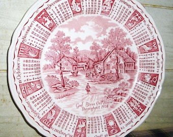 SALE! - Vintage Red & White Staffordshire Zodiac Calendar Plate - 1974 God Bless Our House - Collectibles - Home Decor