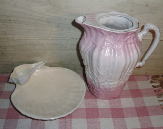 Sale! - Vintage White and Pink Porcelain Pitcher - Embossed Seashell Design - Ceramic Plate - Beach Cottage Decor -  Shabby Chic - Cape Cod