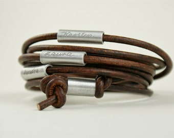 Personalized engraved leather bracelet, wrapped bracelet,bracelet with names,wrap bracelet,dark-brown, MY FAMILY, Father's Day gift