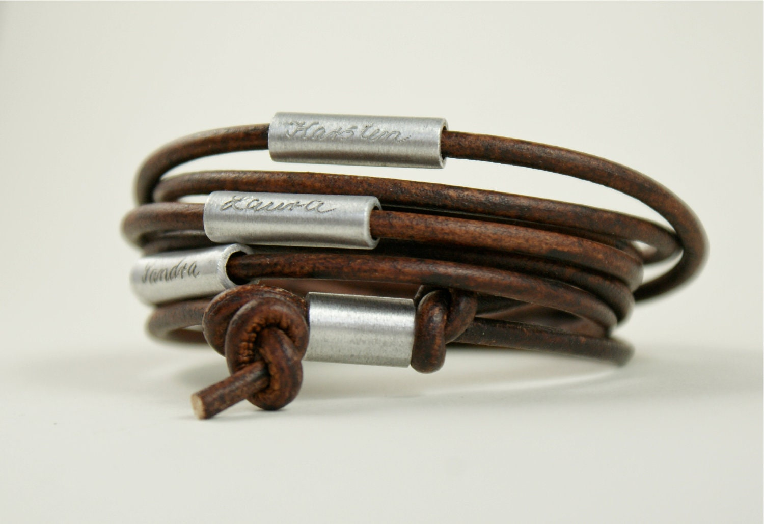 personalized engraved leather bracelet wrapped