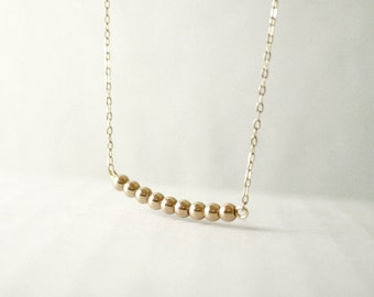 Gold bar dash necklace - round brass beads - gold filled - minimal