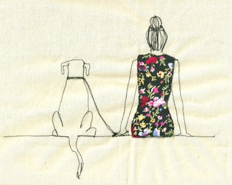 Print of 'Girl & Dog' an embroidered illustration by Sarah Walton