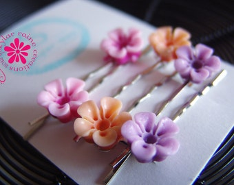 Bobby Pins - Pink, Orange & Lilac BRIGHT Resin Bobby Pins Set - Boutique Style - Hair Bobby Pins