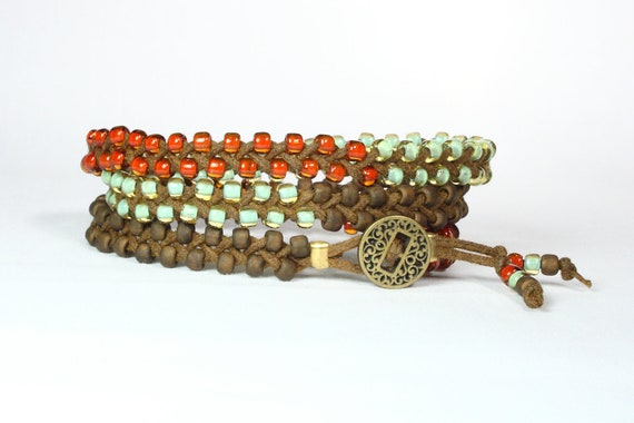 Rust red, green aqua, brown seed bead wrap bracelet.  Braided.  Antique gold button.  Boho.